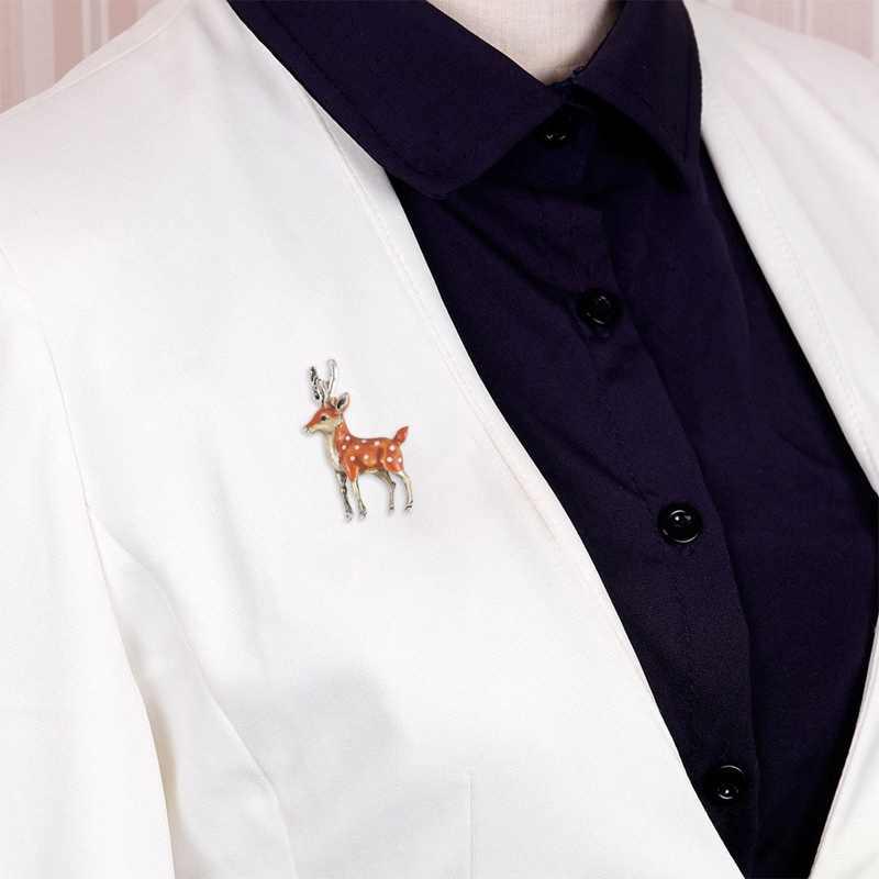 Lucu Kecil Rusa Bros untuk Wanita Retro Dolar Sika Rusa Hewan Lencana Bros Mantel Gaun Kerah Pin Natal Anak-anak hadiah