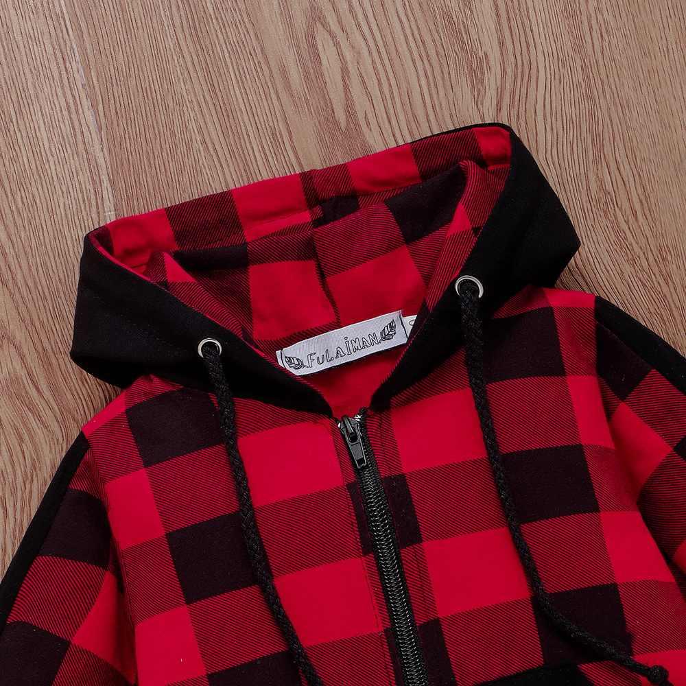2 stuks Meisje Kleding Set Lente Plaid Hooded Zipper Tops + Zwart Sport broek + Hoofdband Peuter Meisje Kleding 2-4Years kids D40