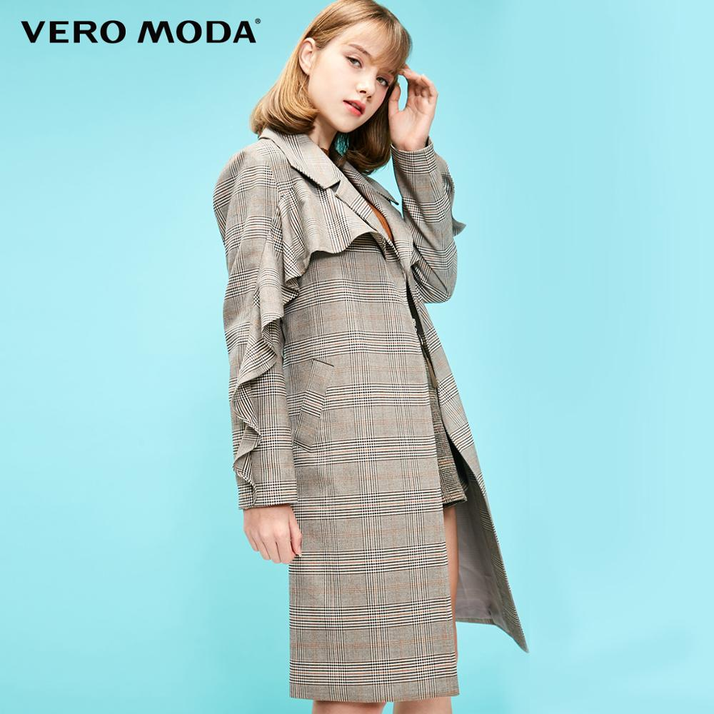 Vero Moda Women's Plaid Pattern Ruffled Trims Long Trench Coat | 319121504