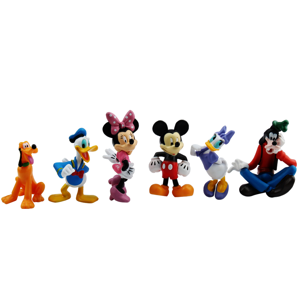6pcs/lot Mickey Figures Minnie Mouse Donald Duck Goofy Dog Pluto Dog Daisy Cartoon PVC Figure Collection Model Toy Dolls