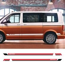 ملصقات جانبية لباب السيارة من الفينيل ، لسيارات Volkswagen Multivan T5 T6 ، ملحقات ضبط السيارة ، 2 قطعة
