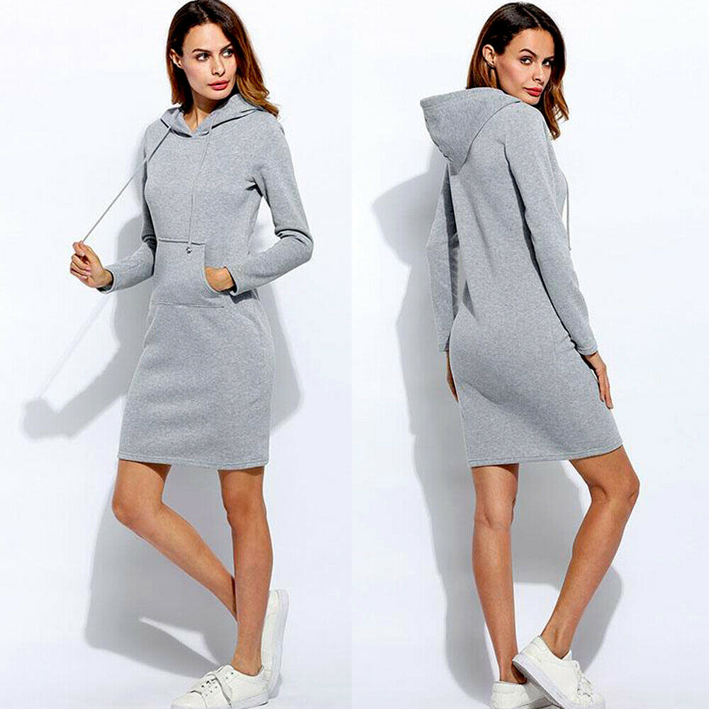 Brand New Women Sweatshirt Hooded Hoodies Long Sleeve Solid Sweatshirts Casual Sweatshirt Pullover Jumper Long Top Mini Dress