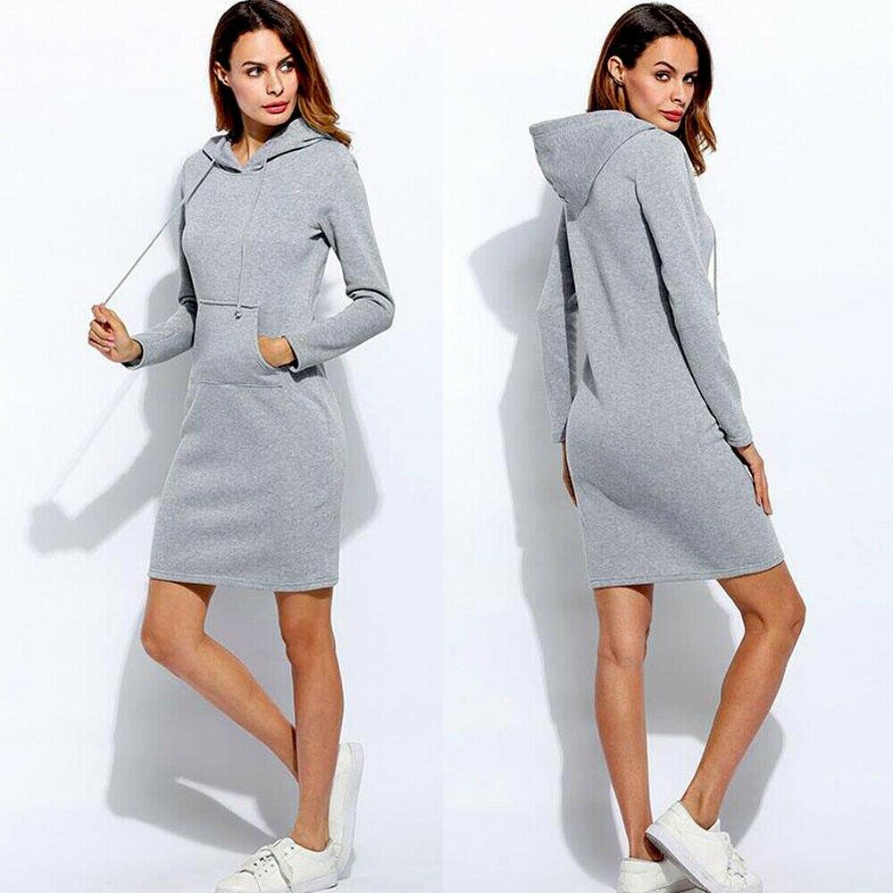 Brand New Women Sweatshirt Hooded Hoodies Long Sleeve Solid Sweatshirts Casual Sweatshirt Pullover Jumper Long Top Mini Dress