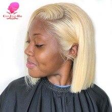 Königin 13x 6 613 Blonde Brasilianische Gerade Menschliches Haar Bob Perücken 8   16 Inch Remy Kurze Ombre Bob Spitze vordere Perücken für Schwarze Frauen