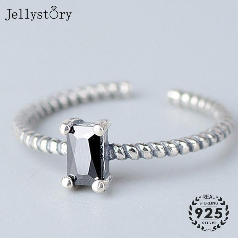 Jellystory Korean Style Adjustable Open Ring 925 Silver Rings with Rectangle Obsidian Gemstones Wedding Engagement Jewelry Gifts
