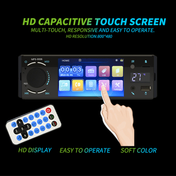 New 4.1inch Touch Screen HD Single 1DIN Car Stereo Video MP5 Player Bluetooth 5.0 FM Radio AUX USB SD TF MP3 Multimedia Player image