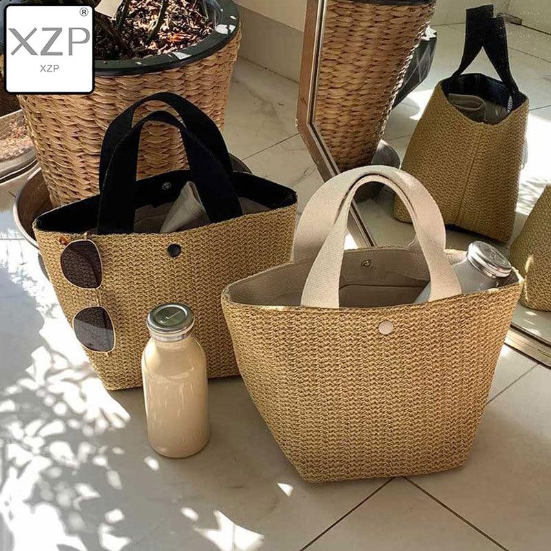 XZP Women Handbag Summer Beach Bag Rattan Woven Handmade Knitted Straw Large Capacity Totes Women Shoulder Bag Bohemia New