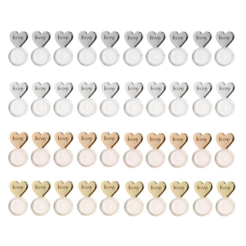 10Pcs Heart Love Magic Earring Lifters Earring Lifts Backs Adjustable Hypoallergenic Earring Nuts Ear Lobe Support