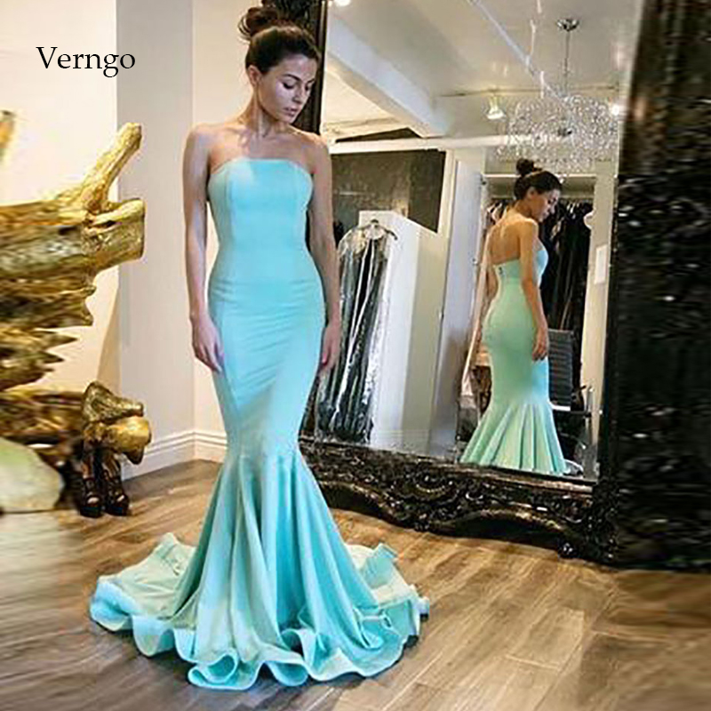 Verngo Mermaid Evening Dress Simple Formal Party Dress Blue Prom Dresses Gown Evening Dress 2019
