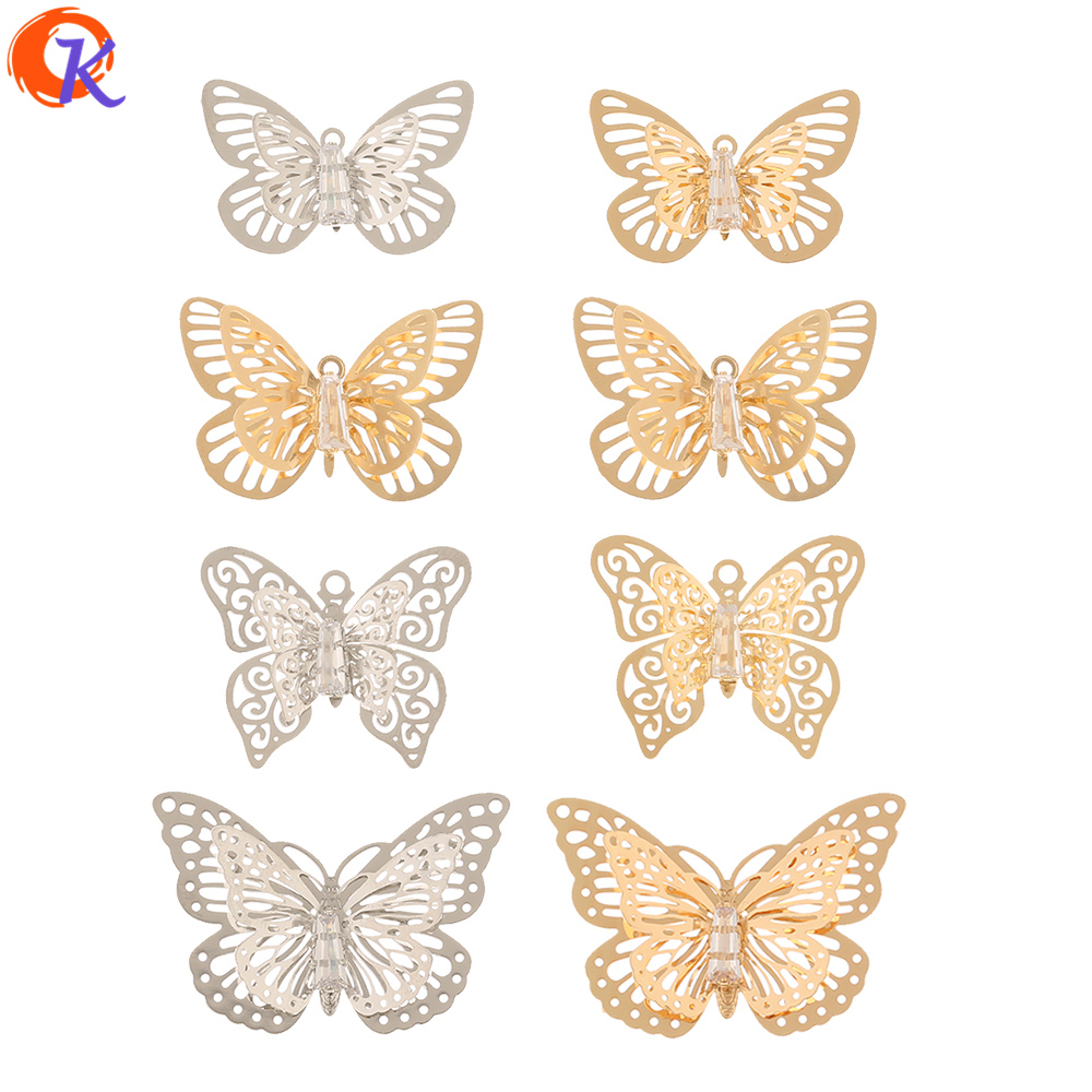 Cordial Design 50Pcs Jewelry Accessories/CZ Earrings Charms/Sheet Copper/Butterfly Shape/Hand Made/Earring Findings/DIY Making