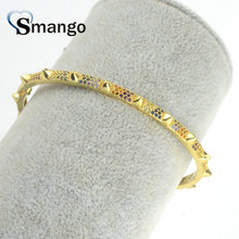 Wholesale Copper Micro Pave CZ The Punk Style Charm Bangle In Gold Colors Top Quality Plating of 5 or 10Pcs,B0121