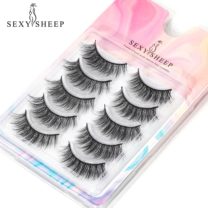 5Pairs 3D Soft Eyelashes Wispy Fluffy Crisscross Natural Lashes Handmade Eye Makeup Extension Tools
