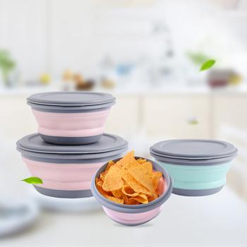 3 sztuk zestaw silikonowe składane Bento Kids Box składany przenośny pojemnik na Lunch Box na żywność naczynia pojemnik miska dla dorosłych tanie i dobre opinie CN (pochodzenie) SILICONE ROUND Environmental protection Foldable Picnic essential Instant Noodle Bowl