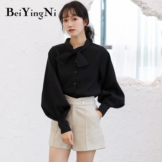 Beiyingni Fashion Casual Bow Tie Blouses Womens Tops Oversized Vintage Solid Color Shirts Female Autumn Winter Long Sleeve Blusa 4
