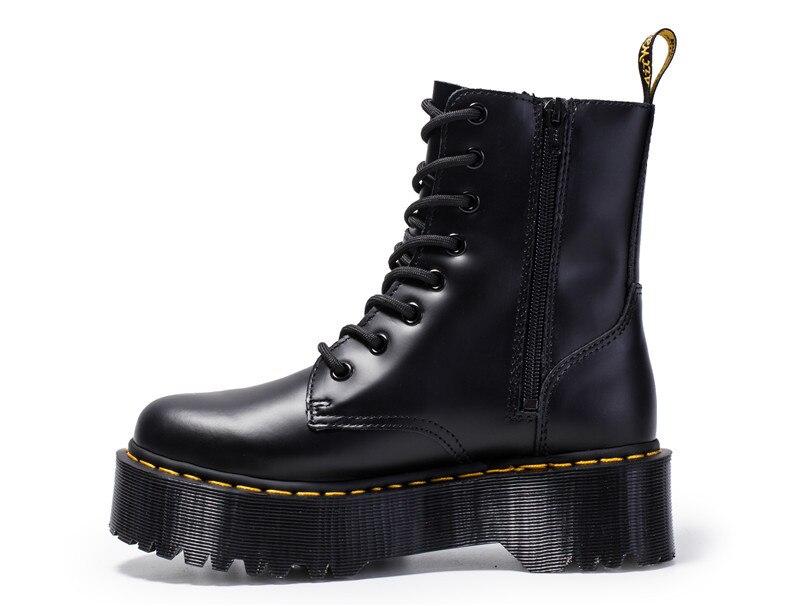 Femmes bottes en cuir véritable bottes Martens noir bottes pour femmes bottines Dr moto chaussures talon épais plate-forme chaussures d'hiver