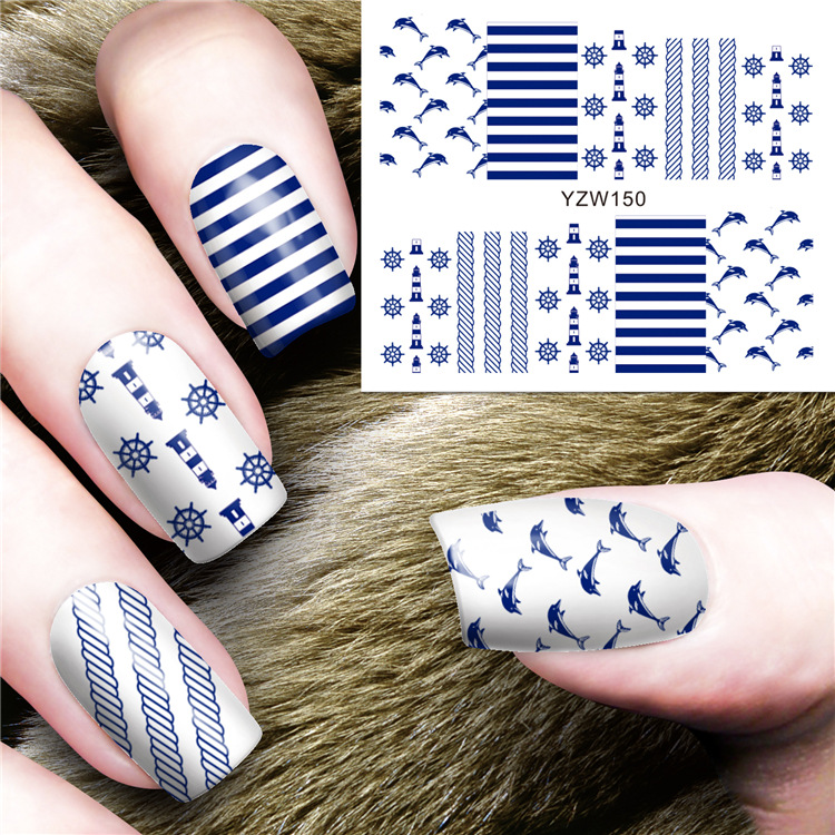 Hot Selling Environmentally Friendly Watermark Nail Sticker Watercolor Petal Pattern DIY Nail Ornament Adhesive Paper