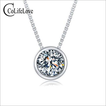 CoLife Jewelry Fashion Moissanite Pendant for Young Girl 1.2ct F Color VVS1 Grade Moissanite Silver Pendant 925 Silver Jewelry