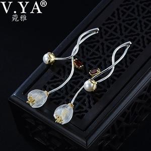 Image 1 - V.YA 925 Sterling Silver Flower Earrings Creative Synthetic Crysta l Campanula Drop Earrings Lovely Women Girls Jewelry