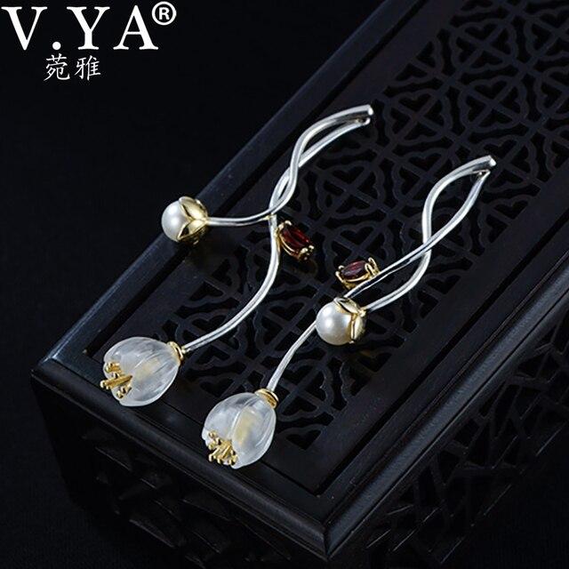 V.YA 925 Sterling Silver Flower Earrings Creative Synthetic Crysta l Campanula Drop Earrings Lovely Women Girls Jewelry