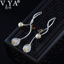 V.YA 925 ayar gümüş çiçek küpe yaratıcı sentetik kristal l Campanula damla küpe güzel kadın genç kız takısı