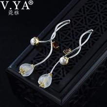 V.YA 925 فضة زهرة أقراط الإبداعية الاصطناعية كريستال l Campanula إسقاط أقراط جميلة المرأة مجوهرات للبنات