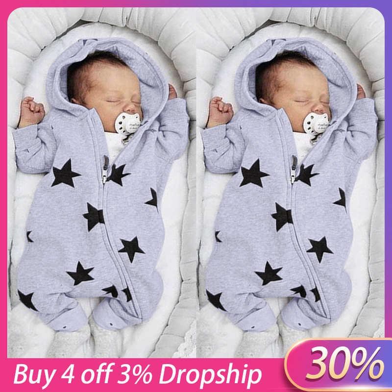 2020 יילוד תינוקות בייבי בנות בני כוכבים הדפסת ברדס רוכסן Romper סרבל תלבושות אביב חדש לגמרי אופנה יילוד סרבלי