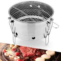 Mini Camping Wood Stove Portable Folding Round Grill Stand Stove On For Camping Hiking Cooking Home Party BBQ Furnace Cooker