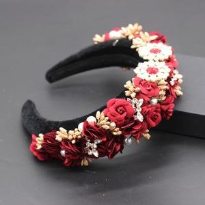 Image 2 - Ladies Fashionable Hair Band Baroque fashion temperament sponge rhinestone fabric flower wild headband 686