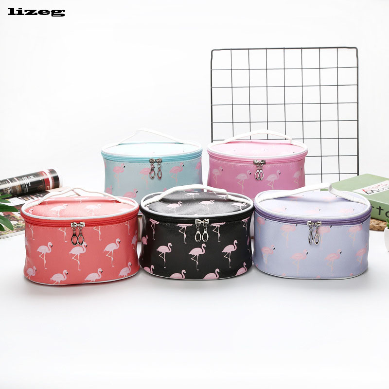 Woman Portable Cylinder Storage Cosmetic Bag Travel Large Capacity Pu Point Beauty