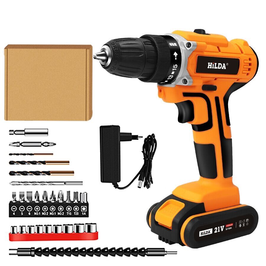 21V Household Waterproof Electric Drill With Rechargeable Lithium Battery Electric Screwdriver Cordless Screwdriver Power Tools