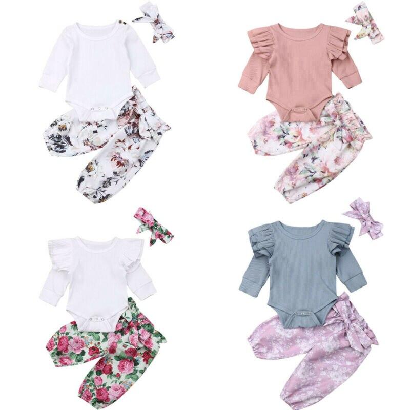 Комплект осенней одежды для маленьких девочек из 3 предметов, топы с цветочным принтом для маленьких девочек, длинные штаны, леггинсы, одежд...