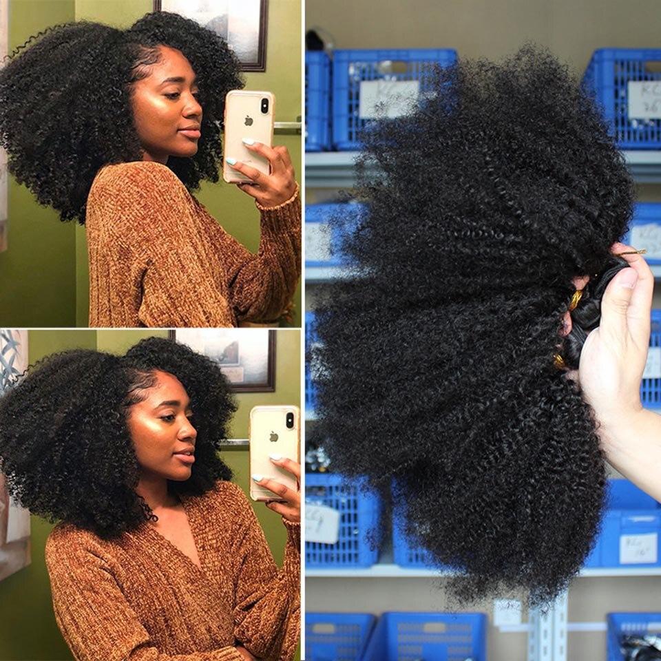 Mechones rizados Afro con cierre extensiones de cabello humano mechones con cierre, Remy puede coser en peluca Afro rizado Vrvogue