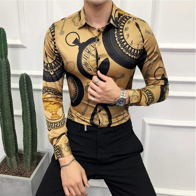 Plus Size 6XL Men's Printed Shirt 2019 New Baroque Slim Party Club Shirt Men's Long Sleeve Casual Business Shirt Brand Clothing