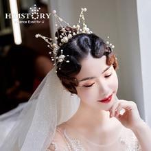 Himstory Baroque Bride Headwear Crown  Round Pearl Cubic Princess Bridal Tiara Wedding Hair Accessories Headpieces