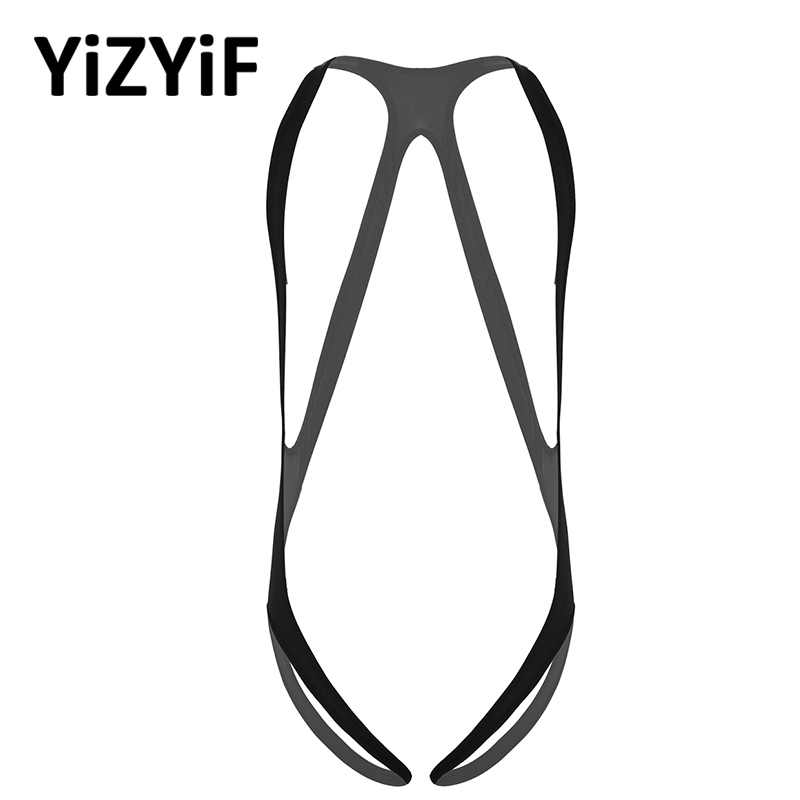 Men Mankini bodysuit Jockstrap Underwear One-piece Lingerie Body Chest harness Halter Neck Elastic Wide Straps Leotard Bodysuit
