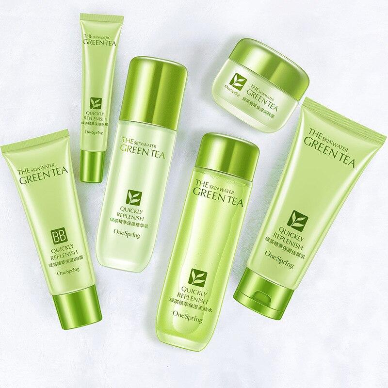 Groene Thee Huidverzorging Sets Koreaanse Cosmetische Whitening Hydraterende Diep Hydraterende Voedende Verstevigende Skin Gezichtsverzorging-in Gezicht zelfdruiners & Bronzers van Schoonheid op  Groep 2