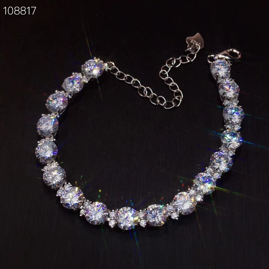 CoLife bijoux Moissanite Bracelet pour usage quotidien 17 pièces D couleur Moissanite argent Bracelet 925 argent Moissanite bijoux