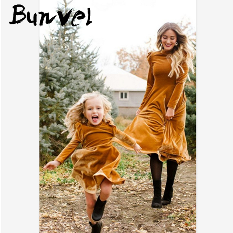 Bunvel Mother Daughter Dresses Pink Velvet Mommy And Me Clothes Dress Baby Girl Cloth Pink Mother And Daughter Winter Dresses 5