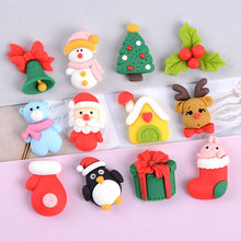 10 pçs/lote Resina Jóias Acessórios DIY Caixa Do Telefone Móvel Dos Desenhos Animados Papai Noel Acessórios Hairpin Broche de Produção