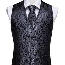 Vest Suit Handkerchief-Tie Waistcoat Square-Set Jacquard Paisley Silk Classic Black Designer