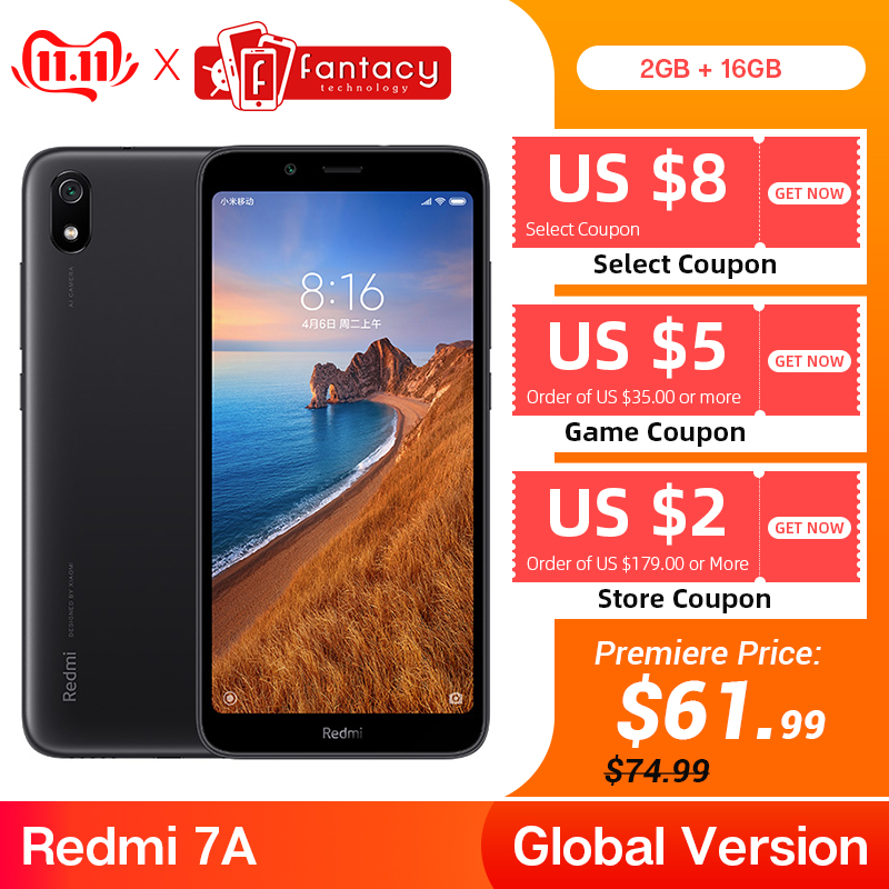 """Global Version Xiaomi Redmi 7A 7 A 2GB 16GB 5.45"""" Snapdargon 439 Octa core Mobile Phone 4000mAh Battery 12MP Camera-in Cellphones from Cellphones & Telecommunications"""
