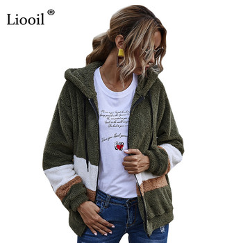 hooded three tone windbreaker jacket zip pockets coats and jackets 2020 autumn women clothes long sleeves outwear jaqueta Liooil Plush Hooded Sweatshirt Coats And Jackets Women 2020 Patchwork Color Block Zip Up Ladies Autumn Winter Fluffy Outwear