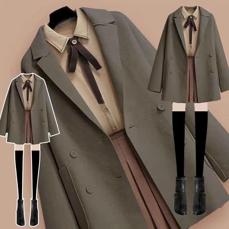 3PCs Autumn Vintage School Woolen Coat. Shirt & Skirt 1