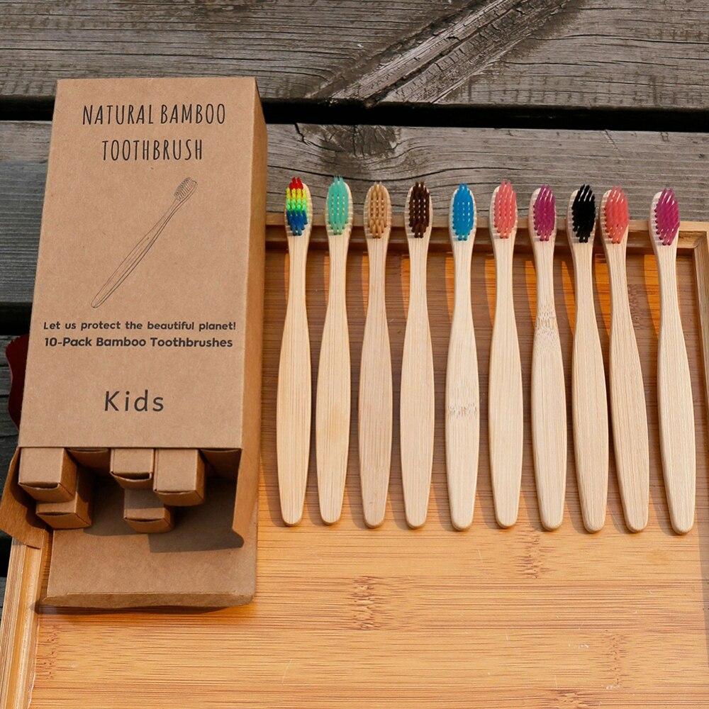 Детские бамбуковые зубные щетки с мягкой щетиной, 10 шт., уход за полостью рта, дорожная зубная щетка радужного цвета, детские бамбуковые зубн...