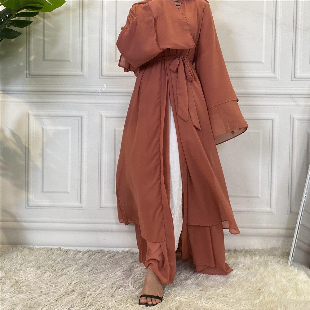 Hot Selling Dubai Abaya Chiffon Fashion Cardigan Muslim For Women Modest Robe Turkey Kaftan Ramadan Arabic Islamic Clothing Women Women's Abaya Women's Clothings