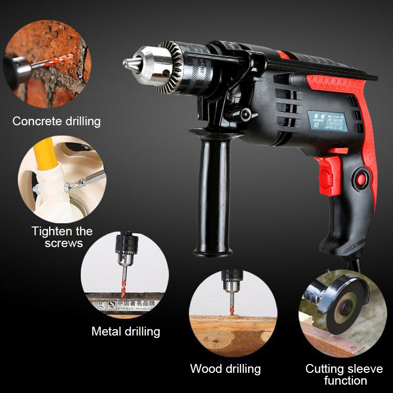 Impact Drill Electric Hammer Electric Drill Power Drill Woodworking Power Tool Speed Adjustable 13mm 220V 1200W Electric Tools