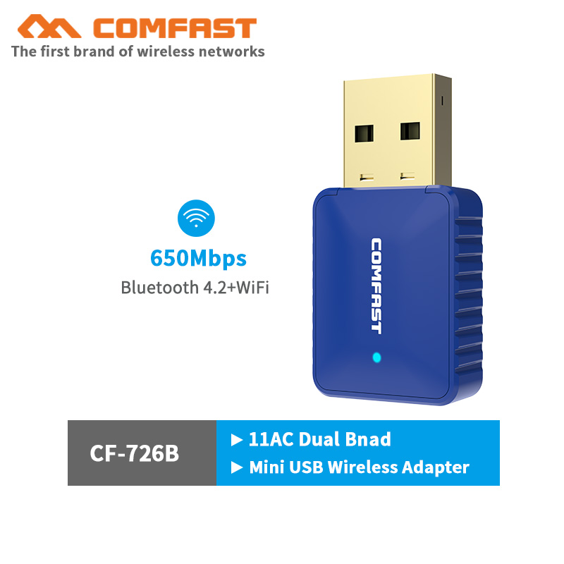 Comfast CF-726B 5Ghz Bluetooth4.2 650Mbps Mini USB Wireless Wifi Adapter PC Laptop Wifi Dongle 802.11ac Usb Ethernet Adapter