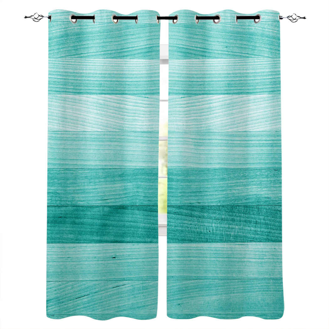 Turquoise Wooden Board Window Curtains Livingroom Kitchen Curtains For Bedroom Left And Right Biparting Open Curtains Curtains Aliexpress