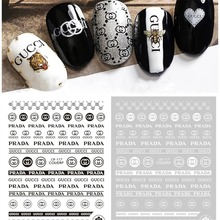 5pcs/lot Black and White Sport Style Brand Logo 3D Nail Sticker DIY Decals Tips Manicure Art New