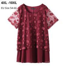 Camisetas de Manga Corta para Mujer, ropa de talla grande 10XL 8XL 6XL, cuello redondo, de moda con encaje, Manga Corta para Mujer